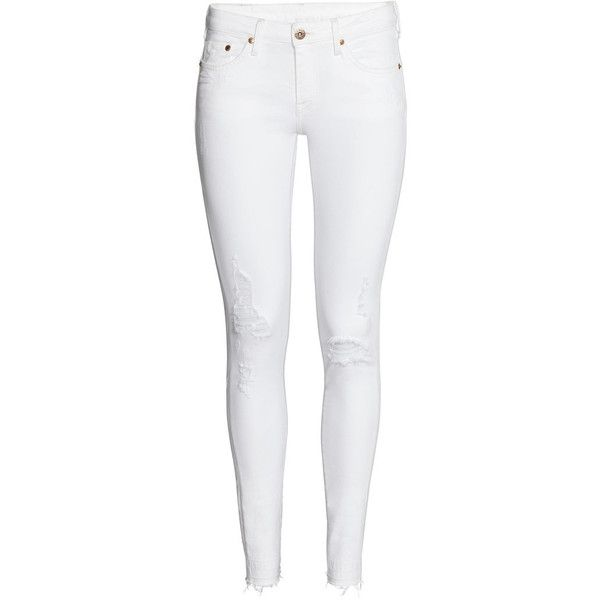 Super Skinny Low Jeans $39.99 (160 PLN) ❤ liked on Polyvore featuring jeans, pants, bottoms, calças, white, destroyed skinny jeans, low rise jeans, ripped jeans, white ripped jeans and distressed skinny jeans