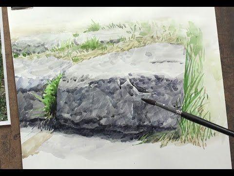 수채화를 하는데 있어서 그리는 방향 (기초 풍경 수채화 바위 그리기) - YouTube