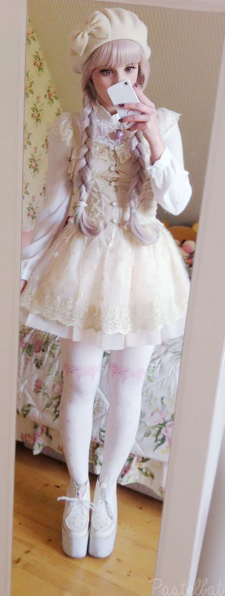 "pastelbat: "" Outfit from Friday! Beret: Accessorize Wig: Taobao Necklace: Spreepicky (You can also use the code ""Pastelbat"" to get 10% discount when ordering when ordering over $30 ) Blouse:..."