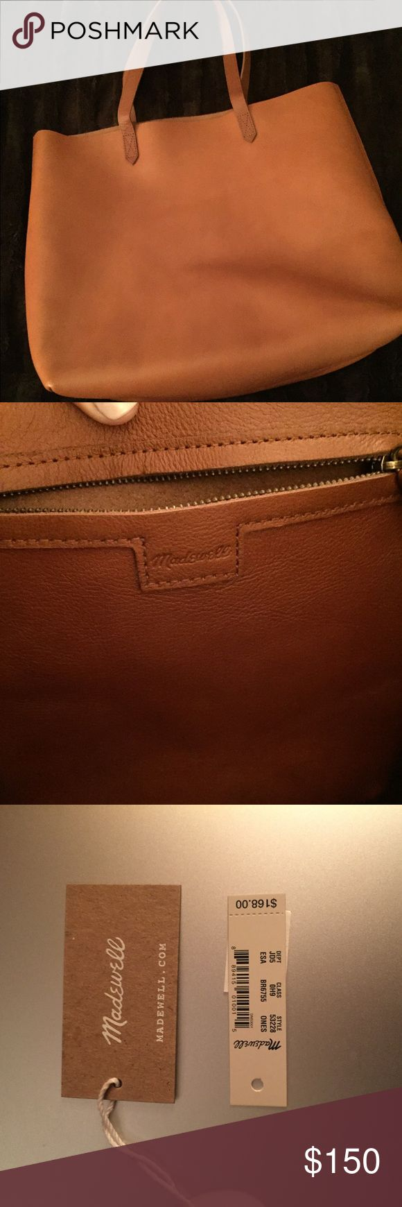 """Madewell """"The Transport"""" Leather Tote Genuine Leather all purpose tote. Huge storage compartment, sturdy straps. 14""""W x 14""""H x 6""""D. 8"""" strap drop. 1.5lbs. Genuine Leather. Just purchased and only worn once. English Saddle color. Tags included. Madewell Bags Totes"""