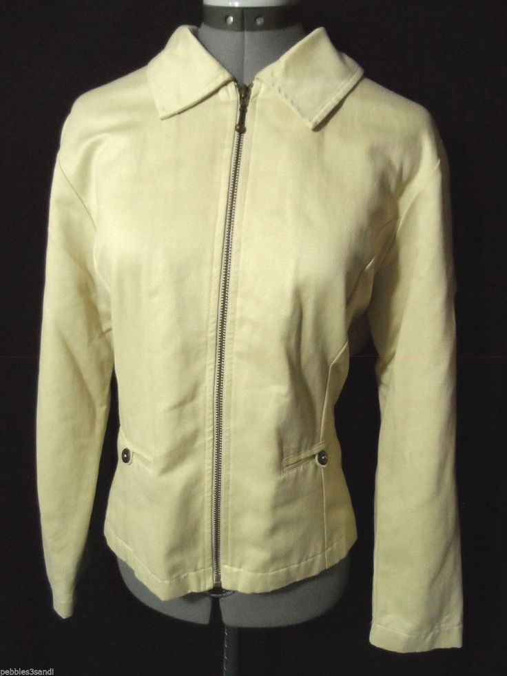 DAKINI Casual Jacket womens M Stone Beige zip up Career coat Collared +pockets in Clothing, Shoes & Accessories, Women's Clothing, Coats & Jackets | eBay