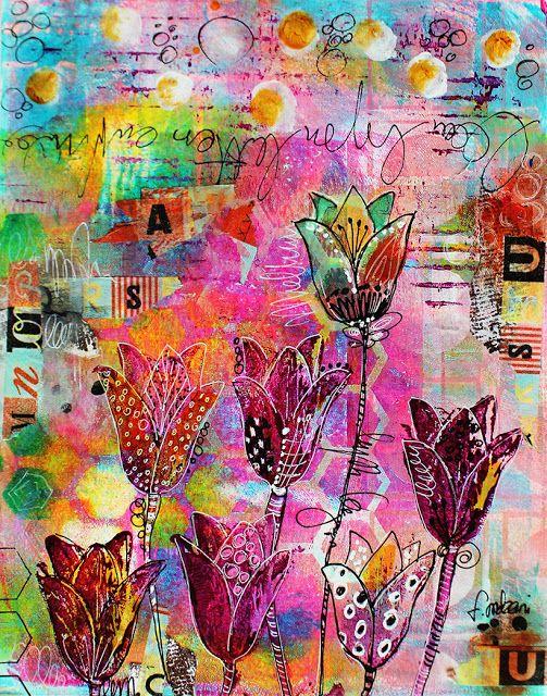 couleurs et mixed media: Un beau bouquet de tulipes pour les enchères de GY...