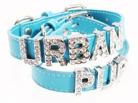 FOR LULU Blue Leather Personalised Dog Collar (Diamante Letters) | Dog Collars at UrbanPup.com