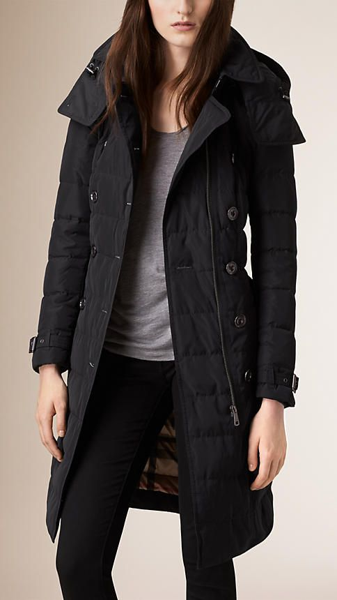 Burberry Black Down-Filled Parka - A warm down-filled parka in elegant channel quilt. Protecting against wind and rain, the design features an oversize throat latch and detachable hood. Discover the women's outerwear collection at Burberry.com