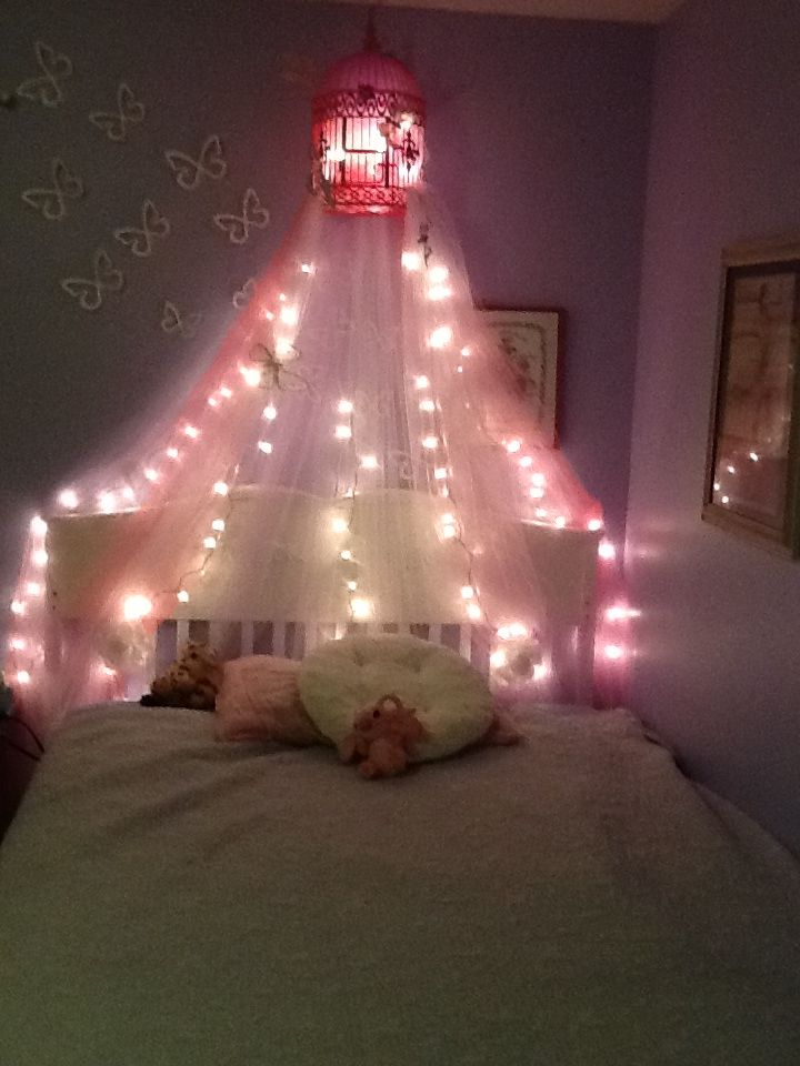 Made My Daughter A Bed Canopy With Lights Found Neat Bird Cage At Hobby Lobby Then Added And Tulle Pinned So Erflies On That We