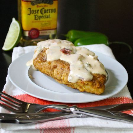 Cornbread Fried Chicken Breasts with Jalapeno Popper Sauce