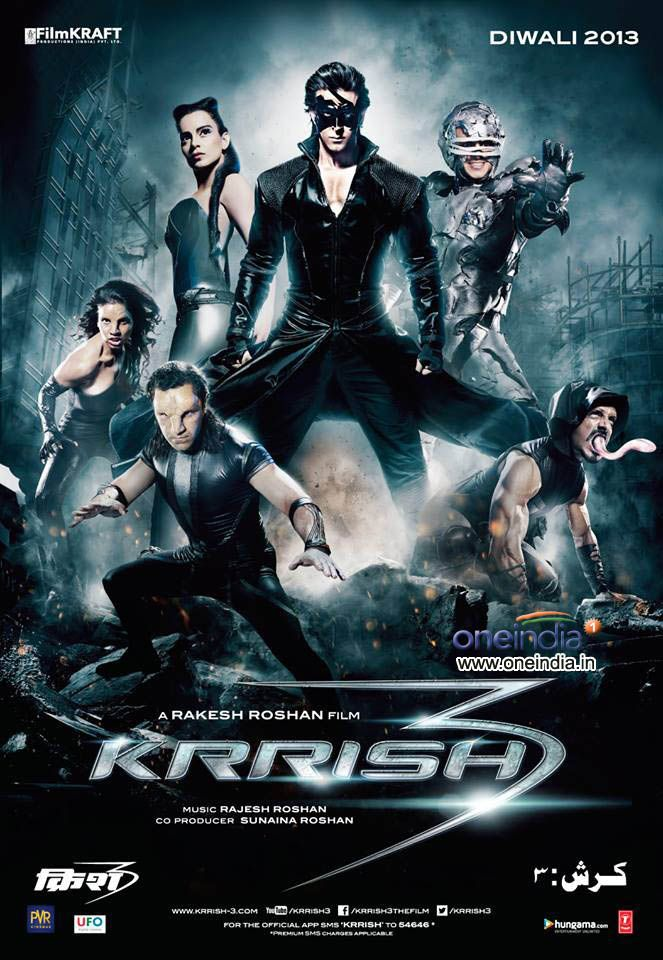 Krrish 3 poster featuring Hrithik Roshan and mutant villains #Bollywood #Movies #Krrish3