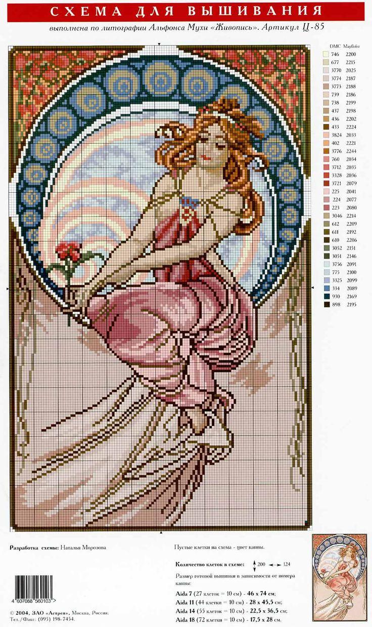 beautiful alphonse mucha cross stitch