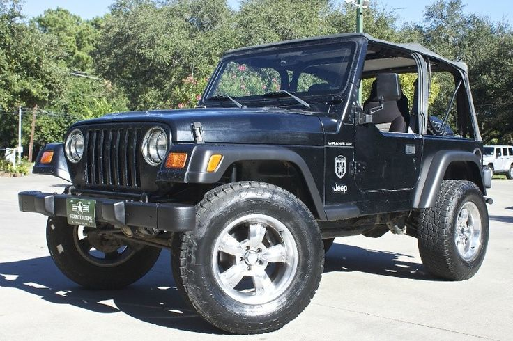 "Super Cheap TJ! 1998 Black SE - 152k Miles, 5-Speed Manual with Hurst Shifter, Chrome Wheels with 33"" Tires and 3"" Lift, Spray in Bedliner, Aftermarket Rear Bumper with Tow Package for Only $6,995!!! http://www.selectjeeps.com/inventory/view/7932356/1998-Jeep-TJ-SE-League-City-TX"