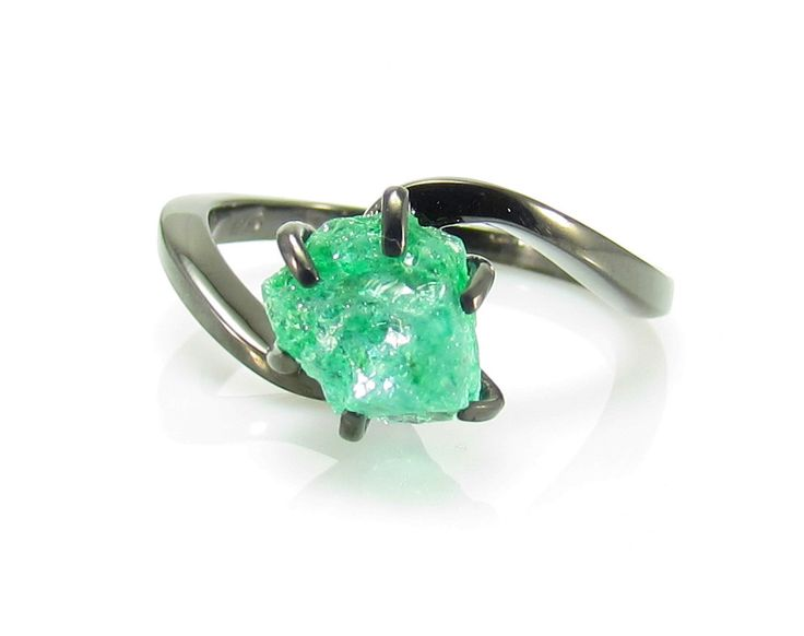 Raw Emerald Ring, Rough Emerald Ring, 2.00 Carat Uncut Emerald Ring, Anniversary Ring, Engagement Ring, Black Gold Ring by iPreciousgr on Etsy https://www.etsy.com/listing/263297227/raw-emerald-ring-rough-emerald-ring-200