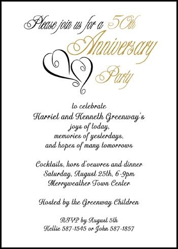Create lots of lifetime memories with your custom golden 50th hearts party invitation wedding anniversary presently reduced to 99¢ Each with large database of anniversary wording samples and so many more party invites at http://www.invitationsbyu.com/50th-golden-wedding-anniversary.htm
