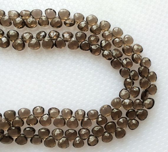 Smoky Quartz Faceted Heart Beads Smoky Quartz by gemsforjewels