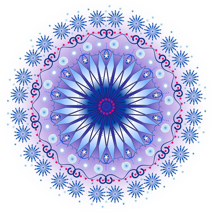 Blue flower star Mandala created in Inkscape by Marlo
