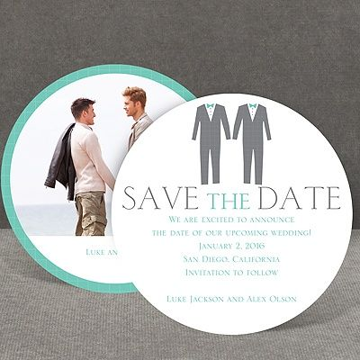 A pair of hip grey tuxedos makes this save the date card the perfect choice for a couple of stylish grooms. The round, double-sided save the date card is printed with your wording on the front and your photo on the back. The design and your wording are printed in your choice of colors and lettering styles. Includes outer envelopes. Extra postage may be required, depending on the envelope you choose. Design is perfect for same sex weddings.