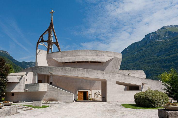 Veneto Longarone monumental church - Arch. Giovanni Michelucci (1891-1990), Chiesa dell'Immacolata Concezione della Vergine (1975 ca.), Longarone (BL), Italy. This church was built in memory of the people died during the Vajont tragedy (1963) #TuscanyAgriturismoGiratola