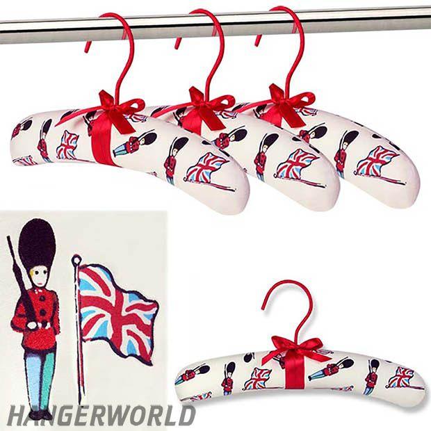 Children's Cotton Padded Top Hangers - Union Jack Design - 30cm