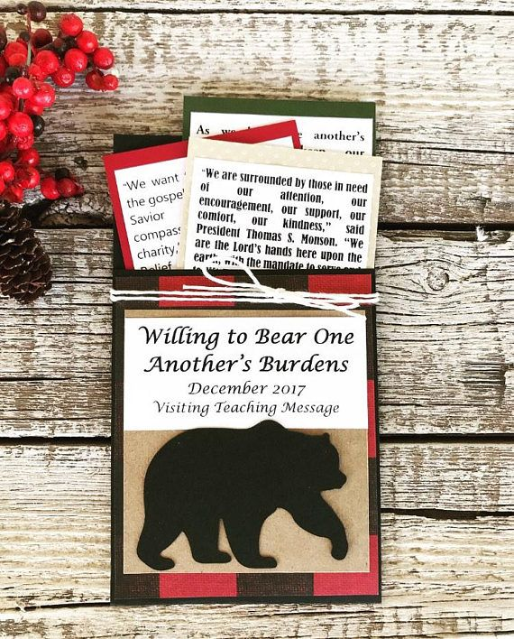 December 2017 LDS Visiting Teaching Handouts - Christmas Buffalo Plaid - Bear One Another's Burdens
