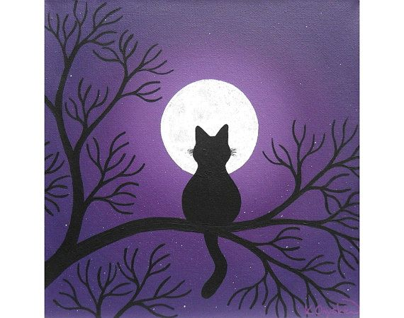 Black Cat Under a Full Moon original painting acrylic by konyskiw