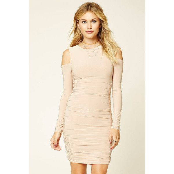 Forever21 Contemporary Ruched Dress ($13) via Polyvore featuring dresses, nude, pink long sleeve dress, nude dress, sleeved dresses, bodycon dress and long sleeve cold shoulder dress