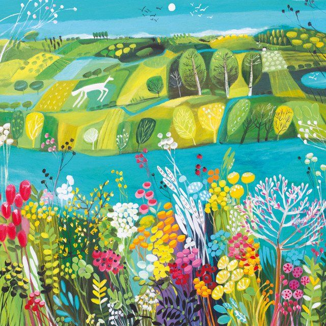 'The Riverbank' by Painter Natalie Rymer. Blank Art Cards By Green Pebble. www.greenpebble.co.uk
