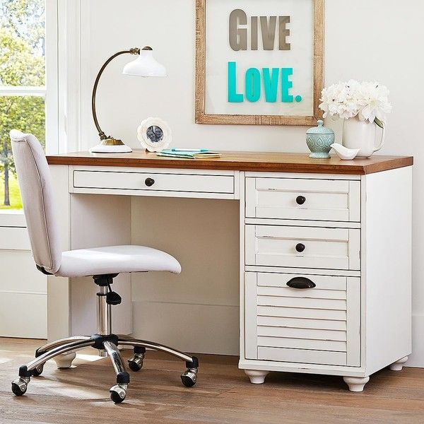 PB Teen Whitney File Pedestal Desk, Almond at Pottery Barn Teen - Teen... ($239) ❤ liked on Polyvore featuring home, furniture, desks, cream furniture, ivory desk, beige furniture, cream colored furniture and ivory furniture