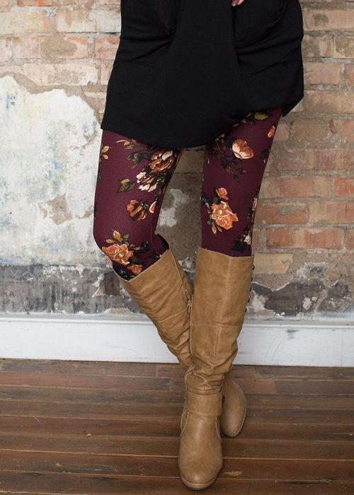Boutique, Online Boutique, Women's Boutique, Modern Vintage Boutique, Leggings, Burgundy Leggins, Floral Leggings, Cute, Fashion