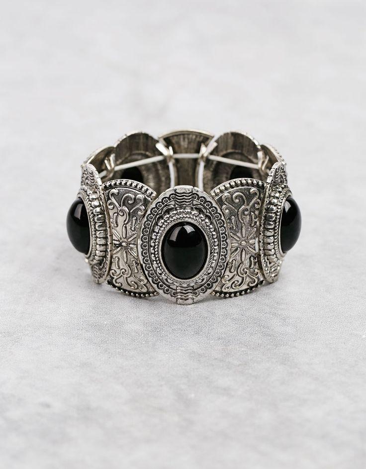 Boho bracelet with black stones - Accessories - Bershka United Kingdom