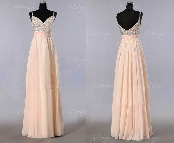 champagne prom dress long prom dress chiffon prom by fitdesign, $139.00