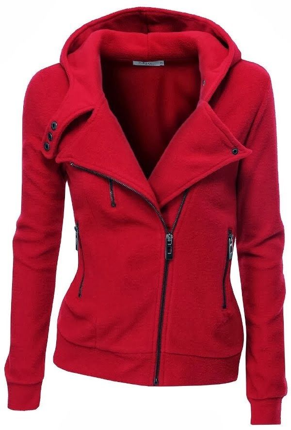 Red warm fleece zip-up hoodie | HIGH RISE FASHION