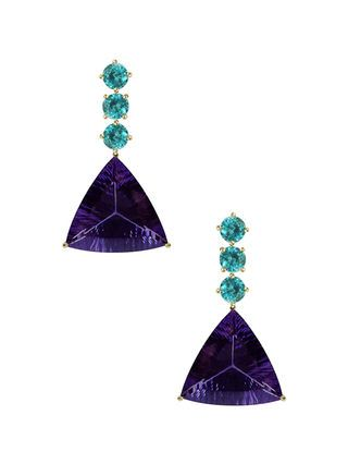 18K Gold, Apatite & Amethyst Drop Earrings by Paolo Costagli at Gilt