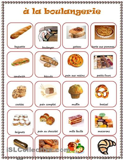 at the bakery. French language worksheet for children