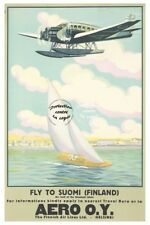 AIRLINES AéRO O.Y FINLAND-VINTAGE POSTER REPRINT …