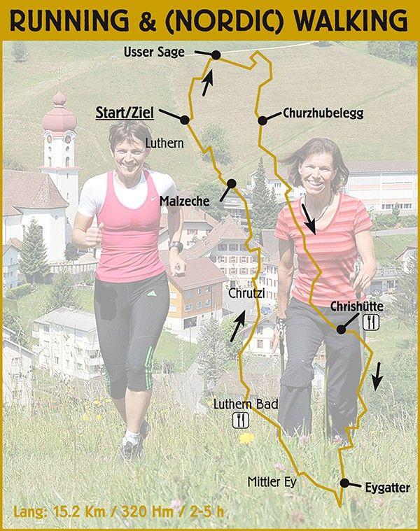Streckeninformationen Running/Walking lang (15,2 Km / 320 Hm) / geeignet für geübte Jogger/innen und (Nordic)  Walker/innen