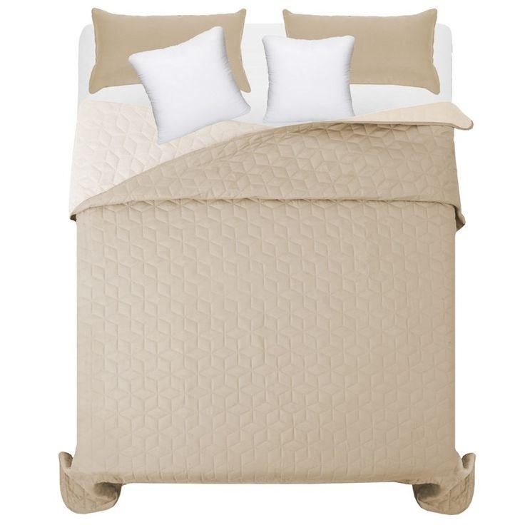 Béžovo krémový přehoz na manželskou postel