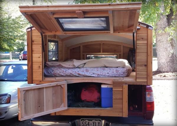 Small, handmade, cedar truck camper - someone I know wood like this ;) (pun intended)