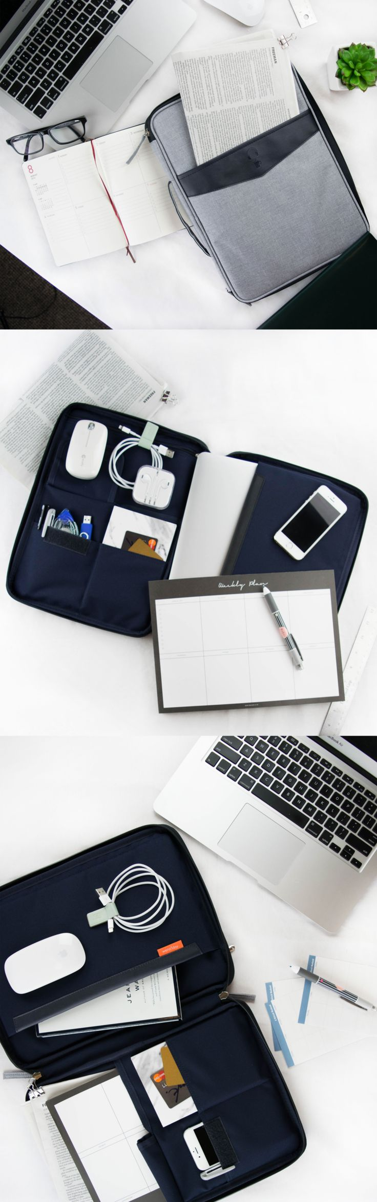 """Looking to get your office organized? Look no further! We have the 1 item that will do it for you! Just tuck your laptop & accessories into the 7 pockets in this sophisticated laptop pouch! It has a dedicated pocket for 13"""" laptops as well as a pocket for your tablet or iPad. It's also ultra padded for extra protection! Keep your important documents in the front pocket or main compartment & zip it all up for security. Transform your office with this chic pouch for a polished & professional…"""