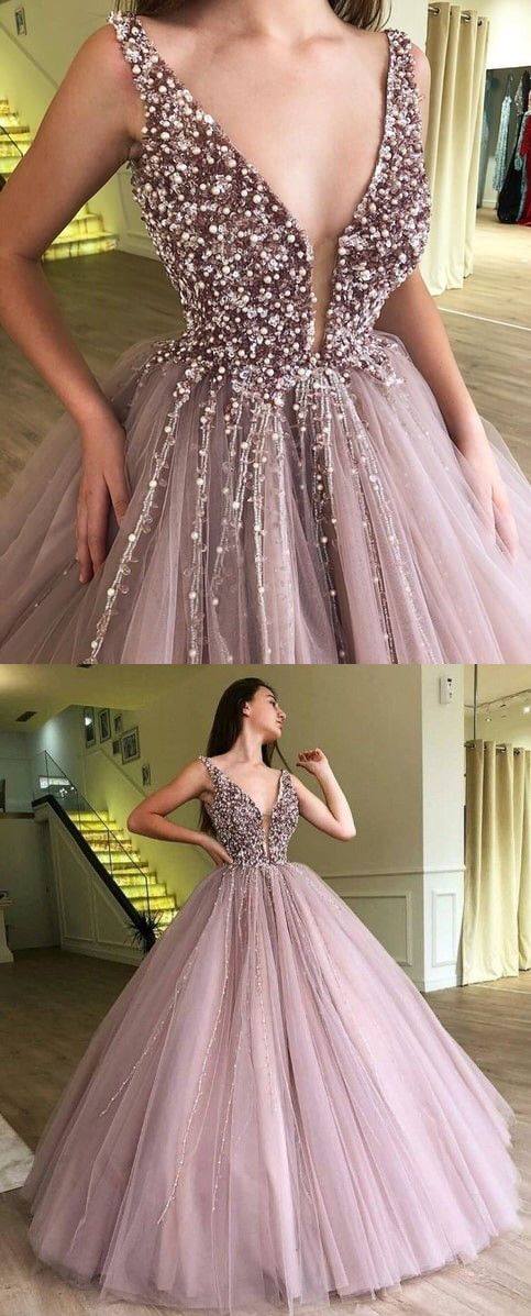5390d717039 Ball Gown Dusty Pink V Neck Beaded Long Prom Dress in 2018