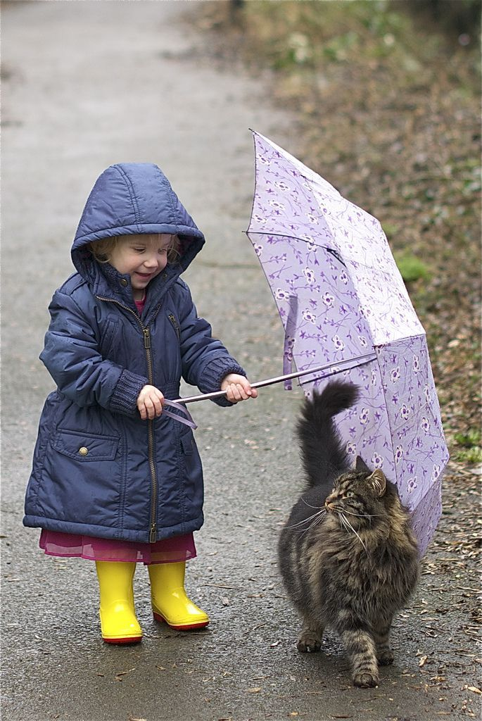 Emily and Waffle share an umbrella outside in the drizzling rain  :).   EMILY…