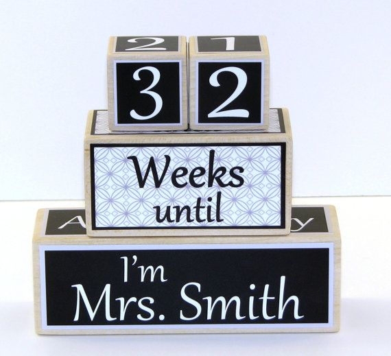 Wedding Countdown Blocks Personalized  Bride by CoconutHutBoutique