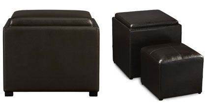 found this ottoman at Crate & Barrel for $299.00 plus $39.90 shipping totaling out at $338.90 – which was way too much for me.  So I went back to researching and found a matching one with an extra side-ottoman at Wal-Mart for $59.00