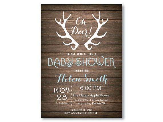 deer baby shower invitation rustic deer antler baby shower invitation rustic wood baby boy or girl shower blue pink printable digital