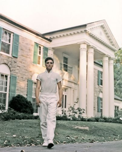 Elvis Presley at Graceland, Memphis, Tennessee, circa 1957.