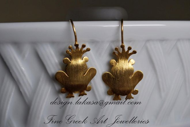 Silver 925 Earrings Gold plated Prince Frog