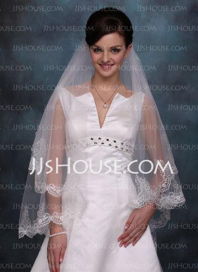 Wedding Veils - $19.99 - Waltz Veils Tulle One-tier Lace Applique Edge Wedding Veils With Classic (006020354) http://jjshouse.com/Waltz-Veils-Tulle-One-tier-Lace-Applique-Edge-Wedding-Veils-With-Classic-006020354-g20354