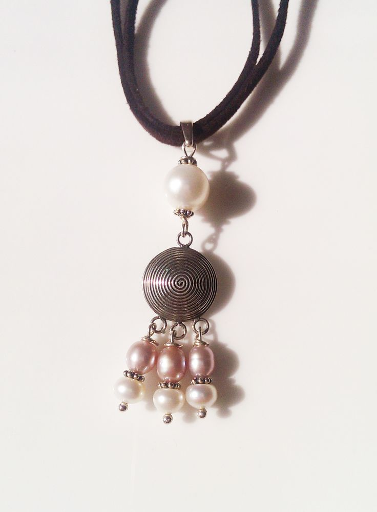 Freshwater Pearl in Pink White and Sterling Silver Pendant