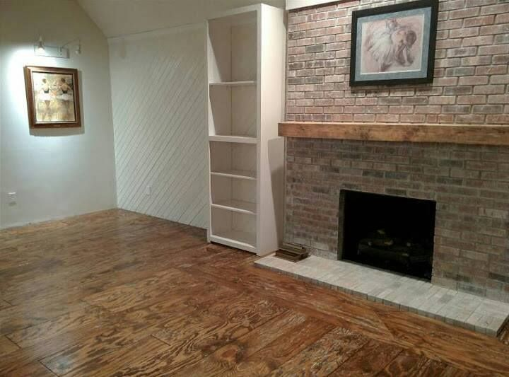 Our hand finished plywood floors our diy pinterest for Diy brick floor