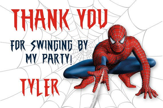 Spiderman Thank You Card Personalized Party Printable