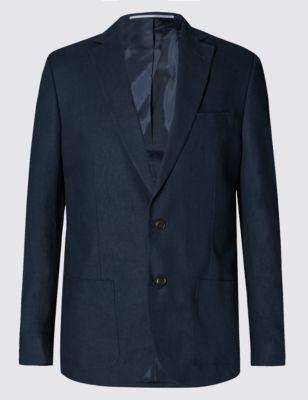 Big & Tall Linen Blend 2 Button Jacket
