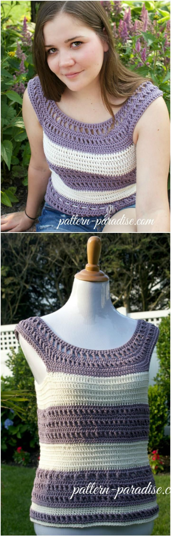 Crochet Striped Summer Tank Top - 50+ Quick & Easy Crochet Summer Tops - Free Patterns - DIY & Crafts