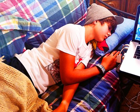 Austin Mahone. How cute! How many lady's out there think it's cute when a guy sleeps?!
